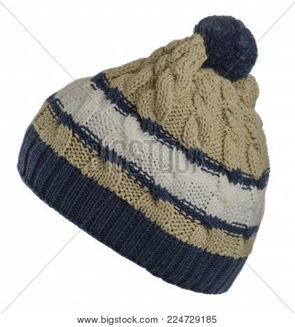 knitted hat isolated on white background.hat with pompon .