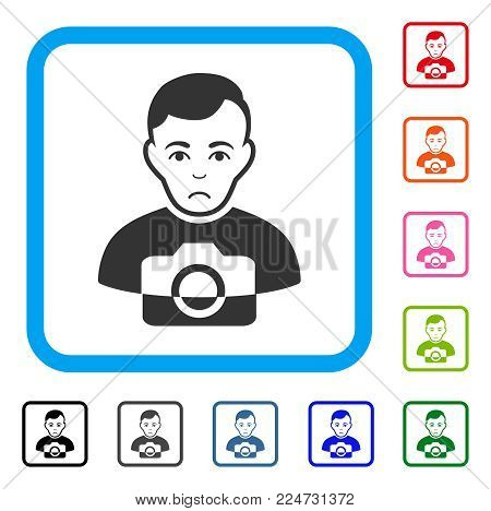 Sadly Photographer vector pictogram. Person face has affliction emotions. Black, grey, green, blue, red, pink color versions of photographer symbol inside a rounded rectangle.