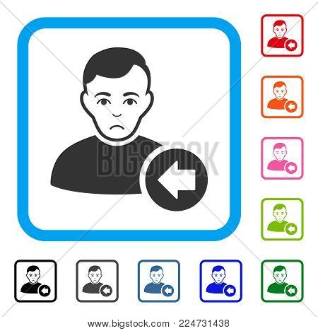 Previous User raster flat pictograph. Person face has happiness expression.
