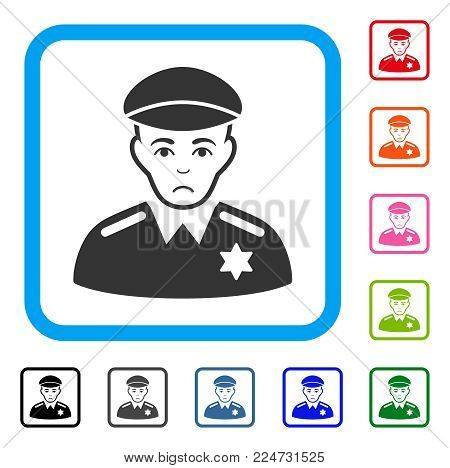 Dolor Sheriff vector icon. Human face has affliction expression. Black, grey, green, blue, red, pink color versions of sheriff symbol inside a rounded squared frame.