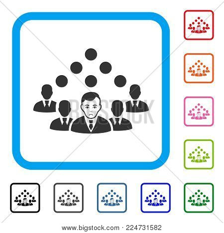 Unhappy Staff Team vector pictogram. Human face has desperate feeling. Black, gray, green, blue, red, pink color variants of staff team symbol in a rounded rectangle.