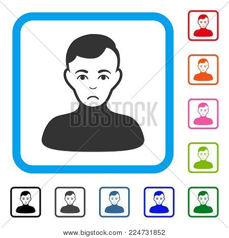 Pitiful Boy vector icon. Human face has sad sentiment. Black, gray, green, blue, red, orange color versions of boy symbol in a rounded rectangular frame.