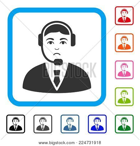 Unhappy Call Center Operator vector pictogram. Human face has depression expression. Black, grey, green, blue, red, orange color versions of call center operator symbol in a rounded rectangle.