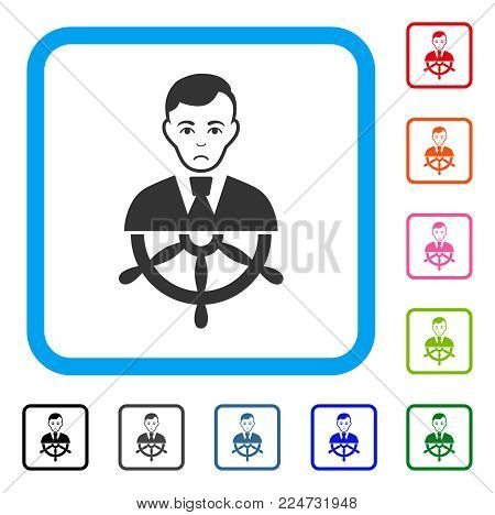Pitiful Captain vector icon. Person face has depression emotions. Black, gray, green, blue, red, pink color variants of captain symbol inside a rounded squared frame.