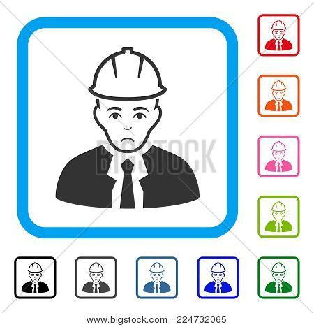 Pitiful Engineer vector icon. Person face has sorrow expression. Black, gray, green, blue, red, pink color variants of engineer symbol in a rounded frame.