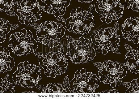 Black and white seamless pattern with beautiful ranunculus and meadow flowers. Cute elegant floral background for home textiles, interiors, linens, cotton fabric, scrap book.