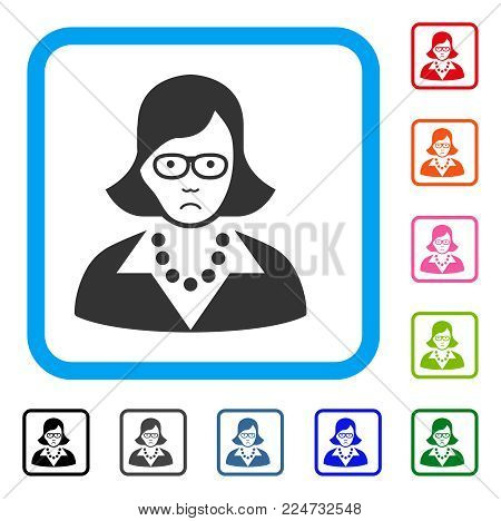Sadly Teacher Lady vector pictogram. Person face has depression emotions. Black, gray, green, blue, red, pink color versions of teacher lady symbol inside a rounded rectangular frame.