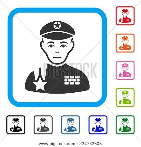 Unhappy Army General vector icon. Human face has mourning emotions. Black, gray, green, blue, red, pink color versions of army general symbol in a rounded frame.