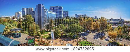 SOCHI, RUSSIA - OCTOBER 28, 2015: Autumn panorama of Sochi