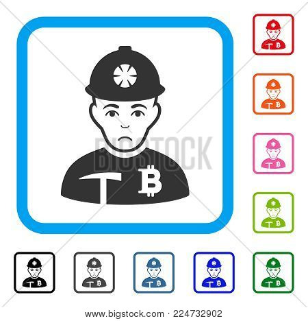 Sadly Bitcoin Miner vector pictograph. Person face has dolor mood. Black, grey, green, blue, red, orange color versions of bitcoin miner symbol in a rounded square.