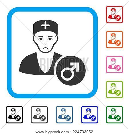 Unhappy Andrologist Doctor vector icon. Person face has depression expression. Black, gray, green, blue, red, orange color versions of andrologist doctor symbol inside a rounded squared frame.