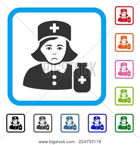 Unhappy Apothecary Lady vector icon. Person face has stress mood. Black, grey, green, blue, red, pink color versions of apothecary lady symbol in a rounded rectangular frame.