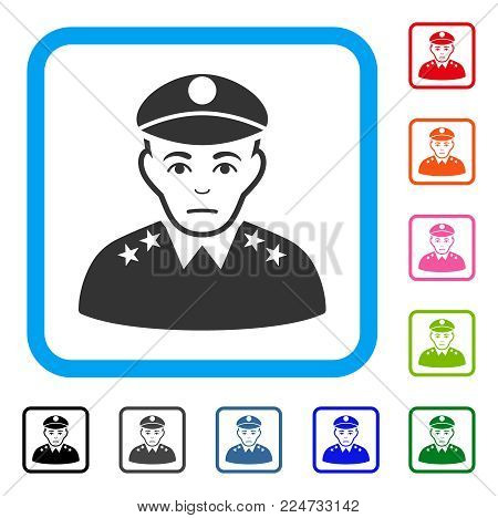 Pitiful Army General vector pictogram. Human face has sorrow emotion. Black, gray, green, blue, red, pink color versions of army general symbol in a rounded square.