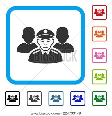 Unhappy Army Team vector pictograph. Person face has mourning emotion. Black, gray, green, blue, red, orange color variants of army team symbol in a rounded rectangle.