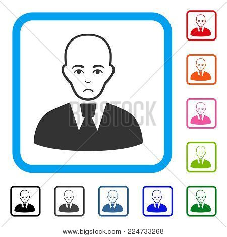 Sadly Bald Clerk vector pictograph. Human face has problem emotion. Black, grey, green, blue, red, orange color variants of bald clerk symbol in a rounded frame.