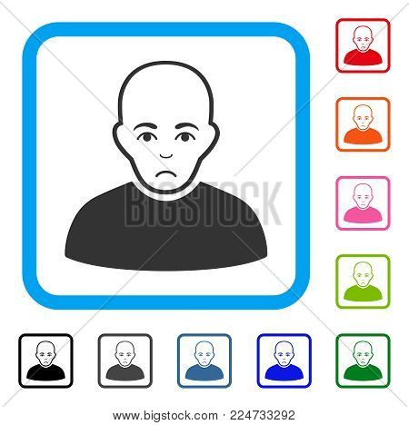 Sad Bald Man vector pictograph. Person face has pitiful sentiment. Black, gray, green, blue, red, pink color versions of bald man symbol in a rounded squared frame.