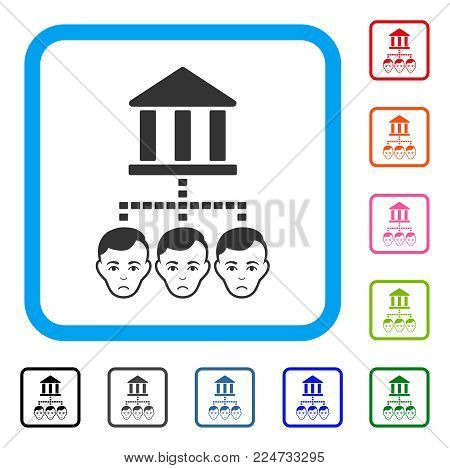 Sadly Bank Clients vector pictograph. Human face has desperate mood. Black, grey, green, blue, red, pink color versions of bank clients symbol inside a rounded squared frame.