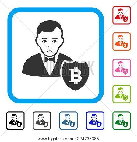 Dolor Bitcoin Protector vector pictograph. Human face has sad feeling. Black, grey, green, blue, red, orange color variants of bitcoin protector symbol inside a rounded rectangle.