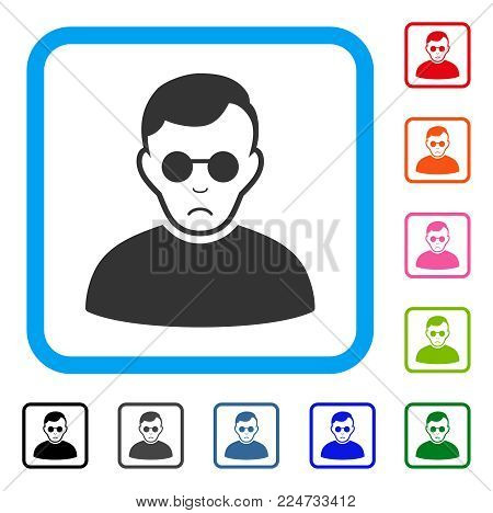 Pitiful Blind Man vector pictograph. Human face has depressed sentiment. Black, gray, green, blue, red, pink color variants of blind man symbol inside a rounded rectangle.