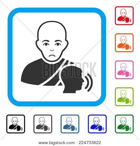Unhappy Buddhist Confession vector icon. Person face has problem sentiment. Black, grey, green, blue, red, orange color versions of buddhist confession symbol inside a rounded square.