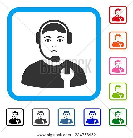 Dolor Call Center Serviceman vector icon. Person face has problem expression. Black, gray, green, blue, red, pink color variants of call center serviceman symbol inside a rounded rectangular frame.