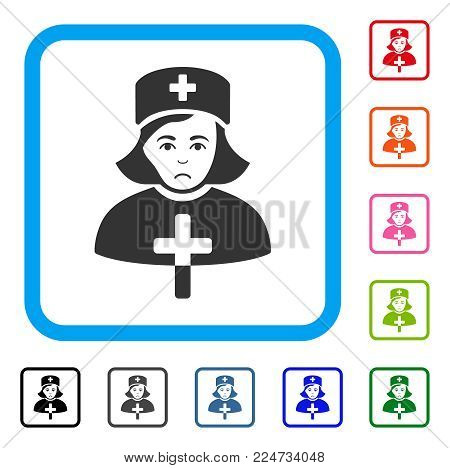 Sad Catholic Lady Doctor vector pictogram. Person face has desperate emotions. Black, grey, green, blue, red, pink color variants of catholic lady doctor symbol in a rounded rectangle.