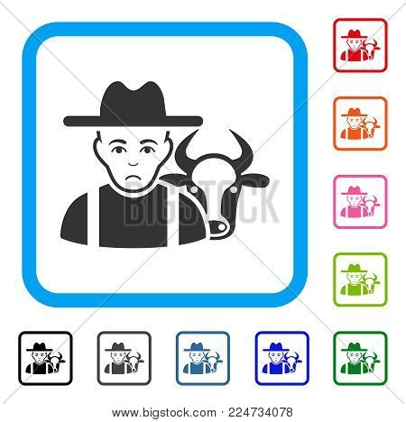 Pitiful Cattle Farmer vector icon. Person face has sorrow feeling. Black, grey, green, blue, red, orange color versions of cattle farmer symbol in a rounded rectangle.