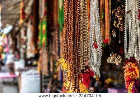 Nepalese souvenirs close-up in Kathmandu