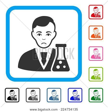 Sadly Chemical Scientist vector pictogram. Person face has affliction sentiment. Black, grey, green, blue, red, orange color variants of chemical scientist symbol inside a rounded square.
