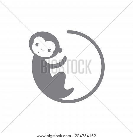 Grey Circle Monkey Vector Photo Free Trial Bigstock
