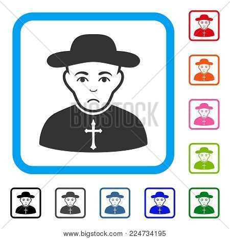 Sadly Christian Priest vector pictograph. Person face has mourning sentiment. Black, grey, green, blue, red, orange color variants of christian priest symbol in a rounded frame.
