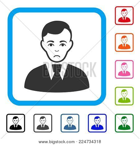 Unhappy Clerk Guy vector pictograph. Human face has sadness mood. Black, grey, green, blue, red, pink color versions of clerk guy symbol in a rounded rectangular frame.