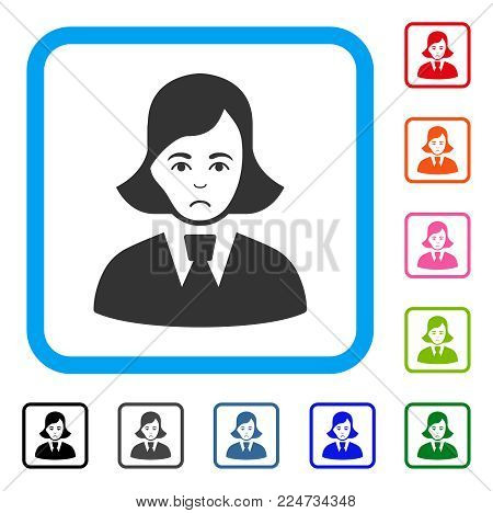 Pitiful Clerk Lady vector pictogram. Person face has grief mood. Black, grey, green, blue, red, orange color variants of clerk lady symbol inside a rounded frame.