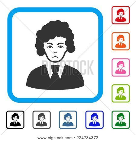 Sadly Clerk Woman vector pictograph. Person face has mourning feeling. Black, gray, green, blue, red, orange color variants of clerk woman symbol in a rounded frame.