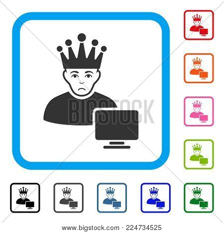 Dolor Computer Moderator vector icon. Person face has unhappy mood. Black, grey, green, blue, red, pink color variants of computer moderator symbol inside a rounded rectangular frame.