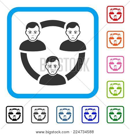 Dolor Connected Social Members vector pictogram. Person face has unhappy feeling. Black, gray, green, blue, red, orange color variants of connected social members symbol inside a rounded frame.