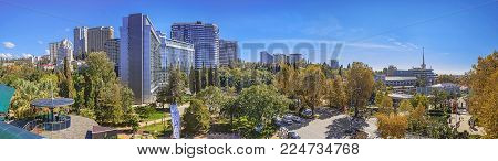 SOCHI, RUSSIA - OCTOBER 28, 2015: Panoramic view of the city of Sochi