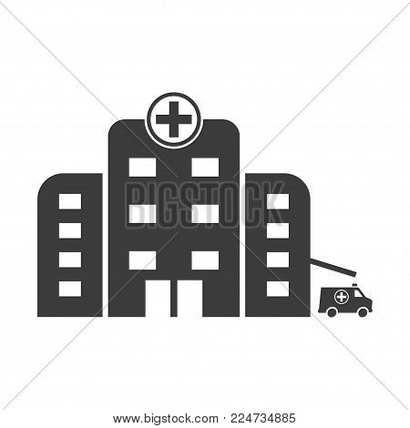 Hospital icon cross building isolated human medical view. Flat black vector illustration on white background.