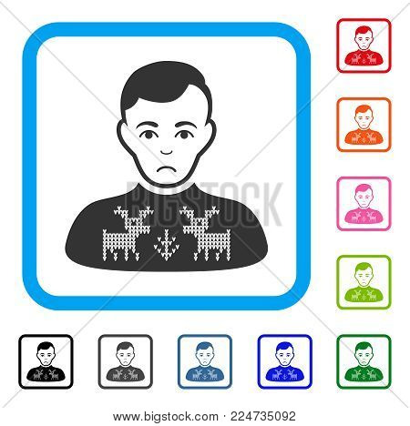Sadly Deers Pullover Boy vector pictogram. Person face has sorrow mood. Black, grey, green, blue, red, orange color versions of deers pullover boy symbol inside a rounded rectangular frame.
