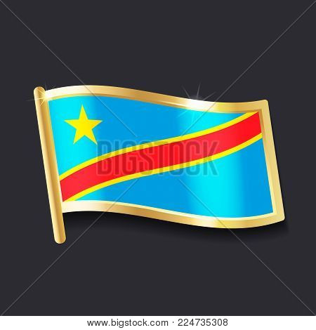 flag of  Democratic Republic of the Congo in the form of badge, flat image