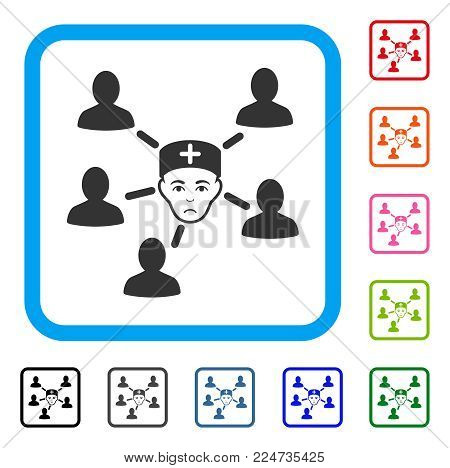 Pitiful Doctor Linked Patients vector pictograph. Person face has depressed emotion. Black, gray, green, blue, red, pink color versions of doctor linked patients symbol inside a rounded frame.