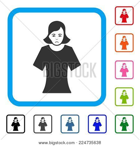 Pitiful Female vector pictograph. Human face has desperate sentiment. Black, grey, green, blue, red, pink color variants of female symbol in a rounded square.