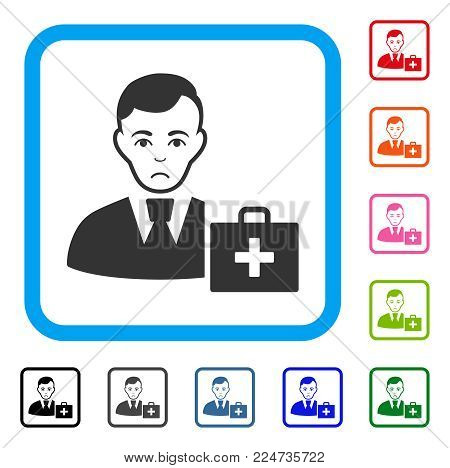 Pitiful First-Aid Manager vector pictogram. Human face has sorrow emotion. Black, grey, green, blue, red, pink color versions of first-aid manager symbol in a rounded frame.