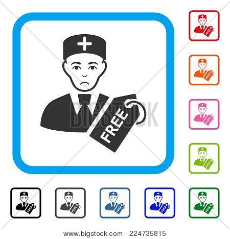 Sadly Free Doctor vector pictogram. Person face has sorrow mood. Black, gray, green, blue, red, pink color variants of free doctor symbol inside a rounded rectangular frame.