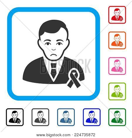 Dolor Gentleman With Mourning Ribbon vector pictogram. Human face has grief sentiment. Black, grey, green, blue, red,