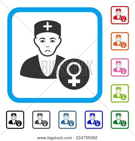 Unhappy Gynecologist Doctor vector pictogram. Person face has pitiful emotions. Black, gray, green, blue, red, orange color variants of gynecologist doctor symbol inside a rounded frame.