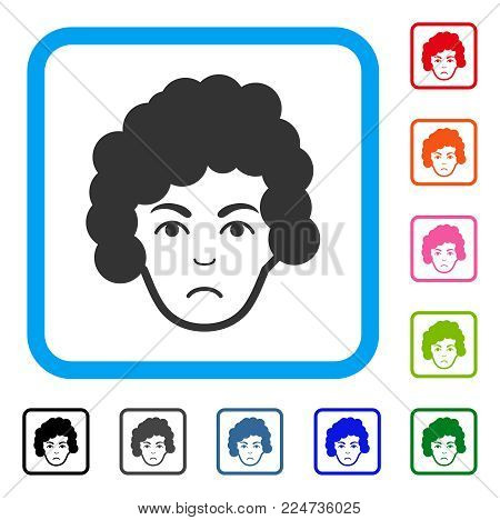 Dolor Hairstyle Head vector icon. Human face has affliction expression. Black, grey, green, blue, red, orange color versions of hairstyle head symbol in a rounded squared frame.