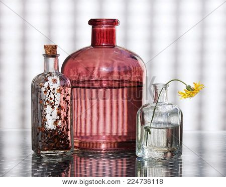 Three vintage glass bottles and small yellow wild flower against a high key background. Retro country style still life with place for your text. Shallow depth, selective focus.
