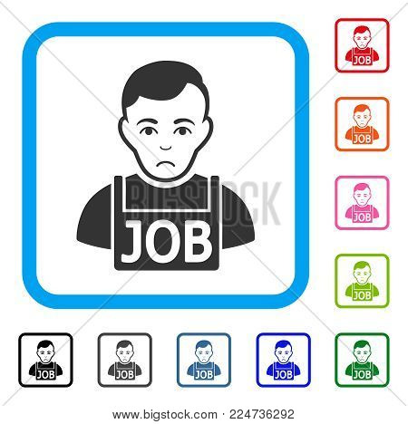 Unhappy Jobless vector icon. Person face has pitiful mood. Black, gray, green, blue, red, orange color versions of jobless symbol in a rounded rectangle.