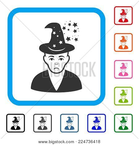 Sadly Magic Master vector pictograph. Human face has grief sentiment. Black, grey, green, blue, red, pink color versions of magic master symbol inside a rounded frame.
